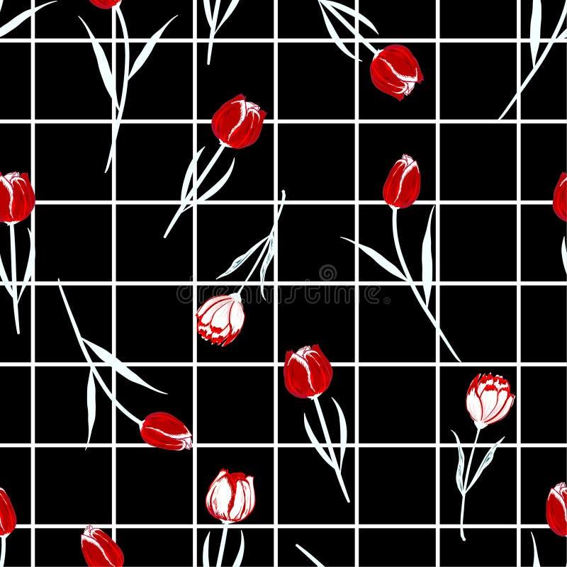 在上面的时髦现代栅格检查背景与美好的吹的红色郁金香叶子和庭院花无缝的样式传染媒介 向量例证
