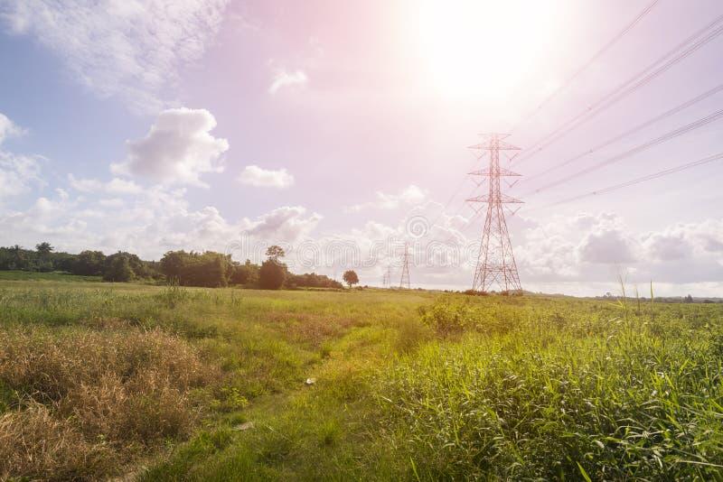 在下午光容器风景的电塔 免版税库存照片