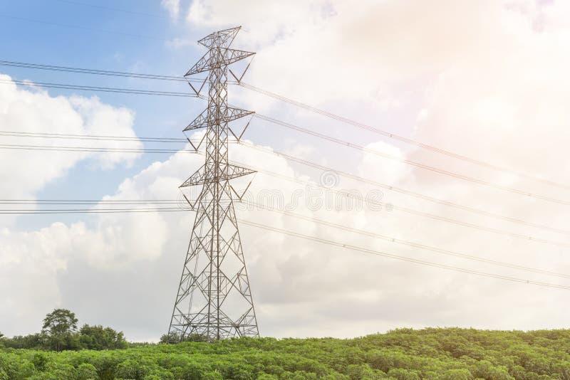 在下午光容器风景的电塔 库存照片