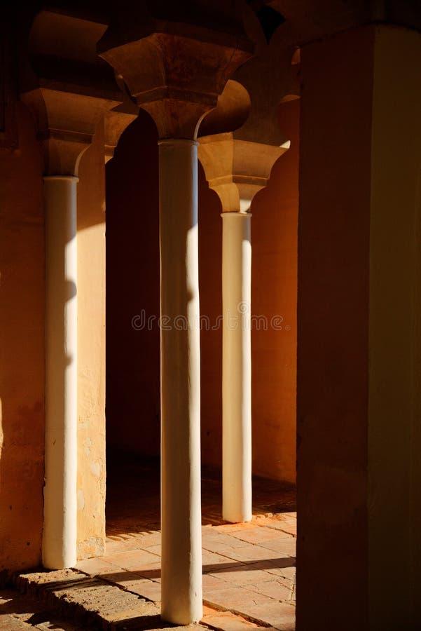 在下午光的三根柱子 库存图片