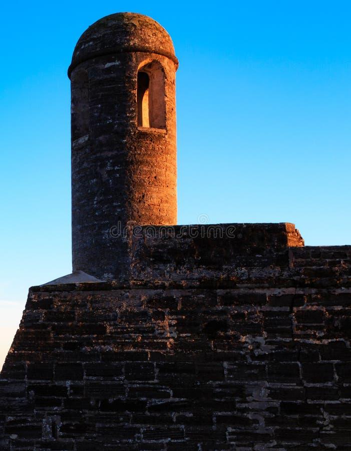 在下午日落光的西班牙塔楼在圣奥斯丁 免版税库存图片