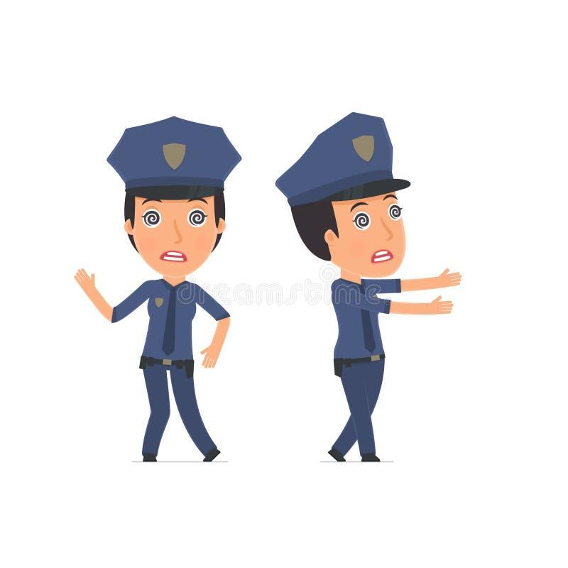 在下奇怪的姿势的疯狂和疯狂的字符警察 皇族释放例证