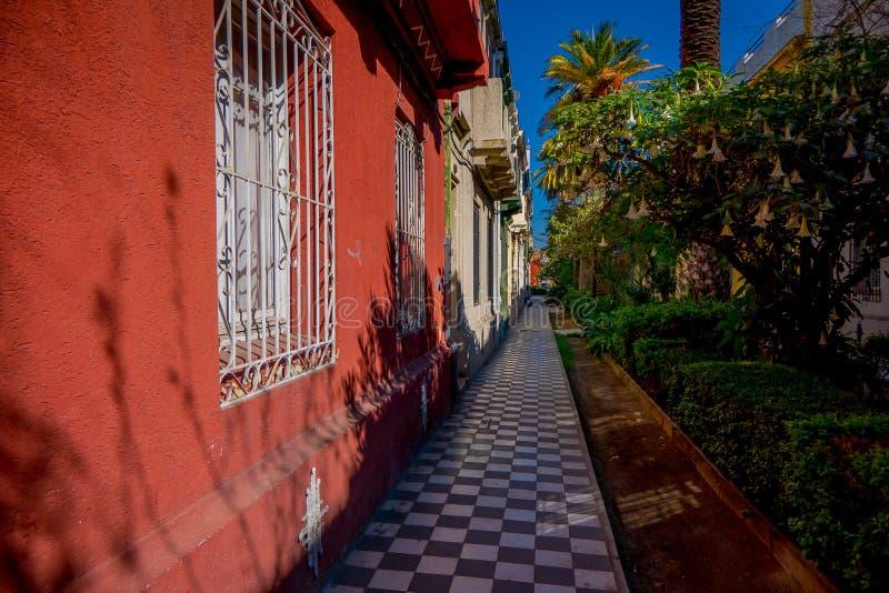 在下的白色和黑瓦片边路树阴影在西班牙语人聚居的区域Yungay在圣地亚哥,智利的首都 免版税图库摄影