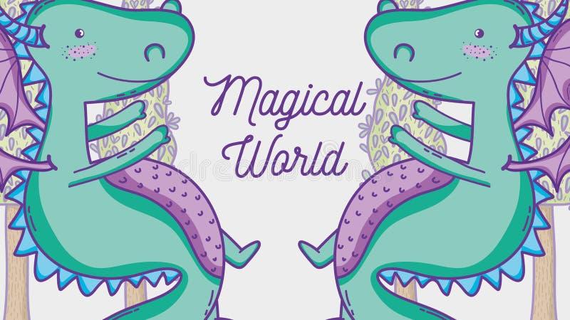 在不可思议的世界人的龙有太阳镜和美元标志里面的聊天泡影 向量例证