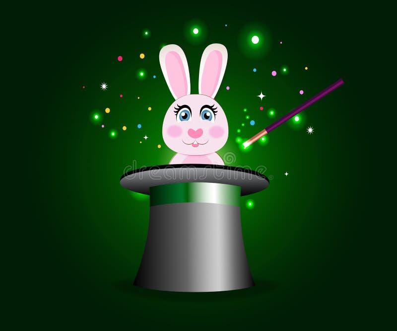 在不可思议的帽子的兔宝宝有在绿色闪耀的焕发背景的鞭子的 库存例证
