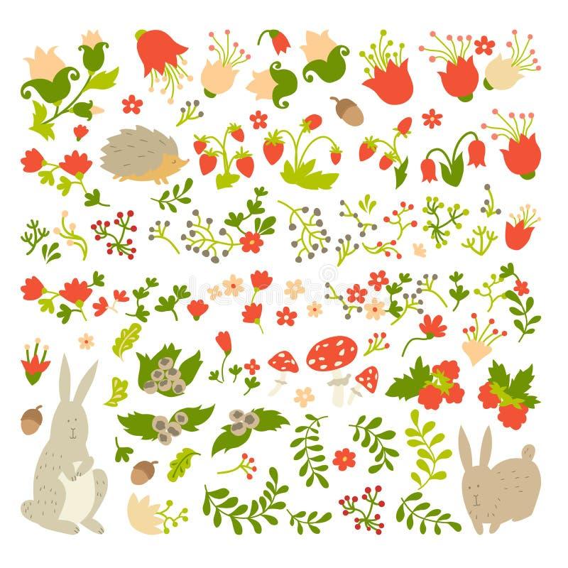 在不可思议的森林传染媒介设计的逗人喜爱的动物 动画片婴孩的兔子和猬例证轻的背景的 皇族释放例证