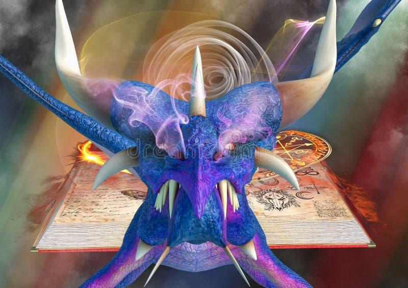 在不可思议的童话书背景的蓝色龙 向量例证