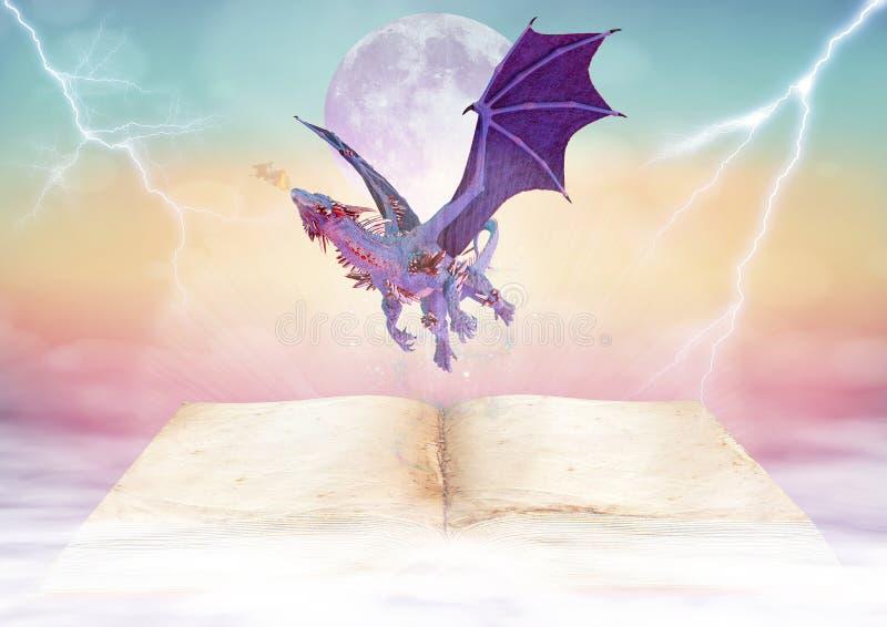 在不可思议的童话书背景的龙 库存例证