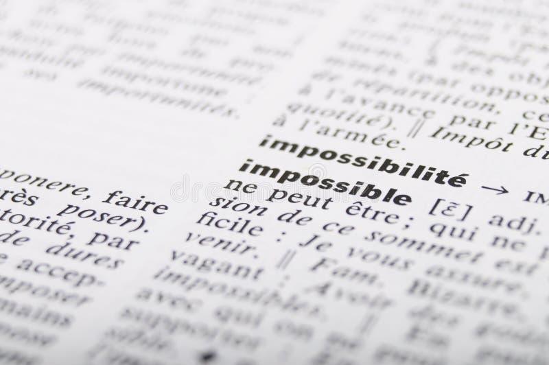 在不可能的词的法语字典 库存照片