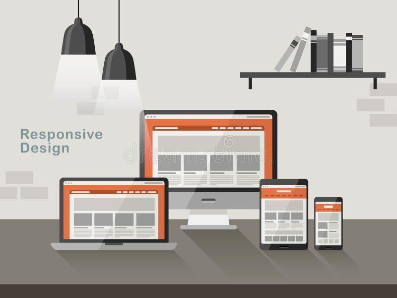 在不同的设备的敏感设计在平的设计 库存例证