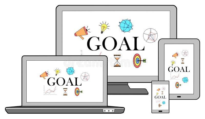 在不同的设备的目标概念 库存例证