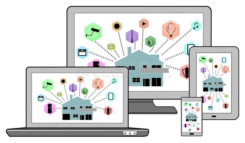 在不同的设备的聪明的家庭自动化概念 向量例证