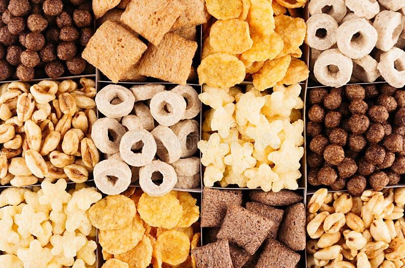 在不同的谷物的玉米片汇集,装饰背景 顶视图 免版税库存照片