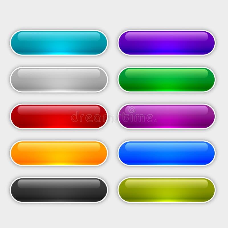在不同颜色设置的光滑的网按钮 库存例证