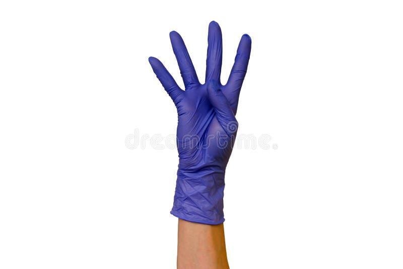 在不同颜色isolat橡胶手套的男性或女性手  库存图片