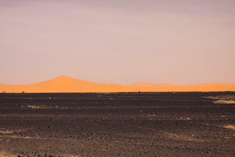 在不尽的被烧的黑平的废物石土地的看法金黄沙丘和被弄脏的阴沉的天空的,尔格Chebbi,摩洛哥 库存照片