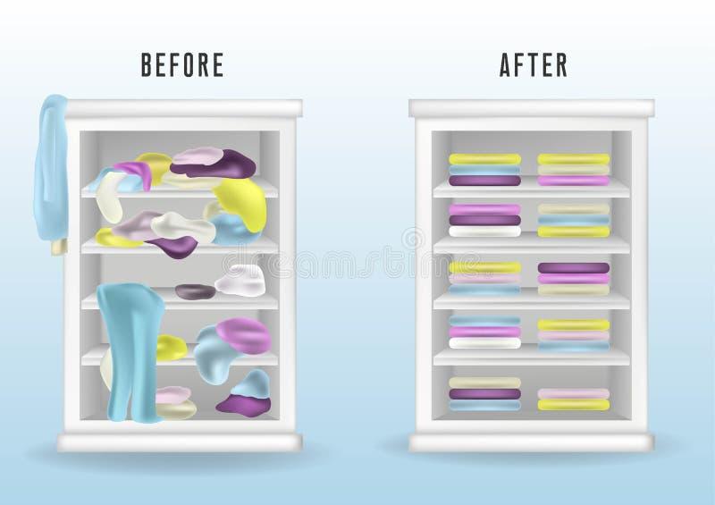 在不整洁和在整洁的衣橱以后前 在架子投掷的杂乱衣裳和恰好安排了在堆和箱子的衣裳 ?? 库存例证