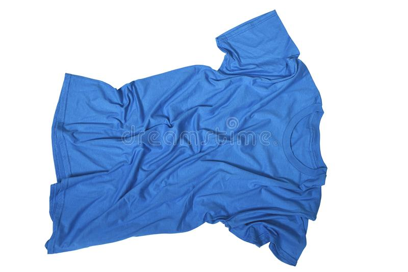 在不整洁蓝色衬衣的皱痕 免版税图库摄影
