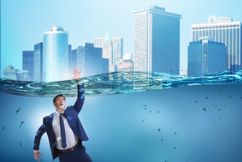 在不能溶解和破产概念的淹没的商人 向量例证