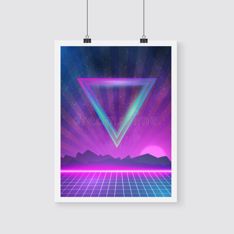 Download 在与三角的Tron样式做的减速火箭的迪斯科80s霓虹海报 向量例证 - 插画 包括有 粉红色, 镶边: 62527857