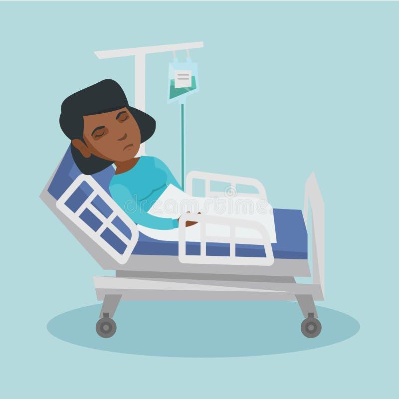 在与下落柜台的医院病床上的妇女 向量例证