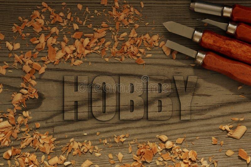 在与凿子的木头雕刻的爱好 免版税库存图片