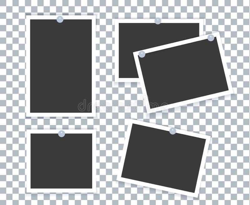 在与另外作用的透明背景安置的现实照片框架 向量例证