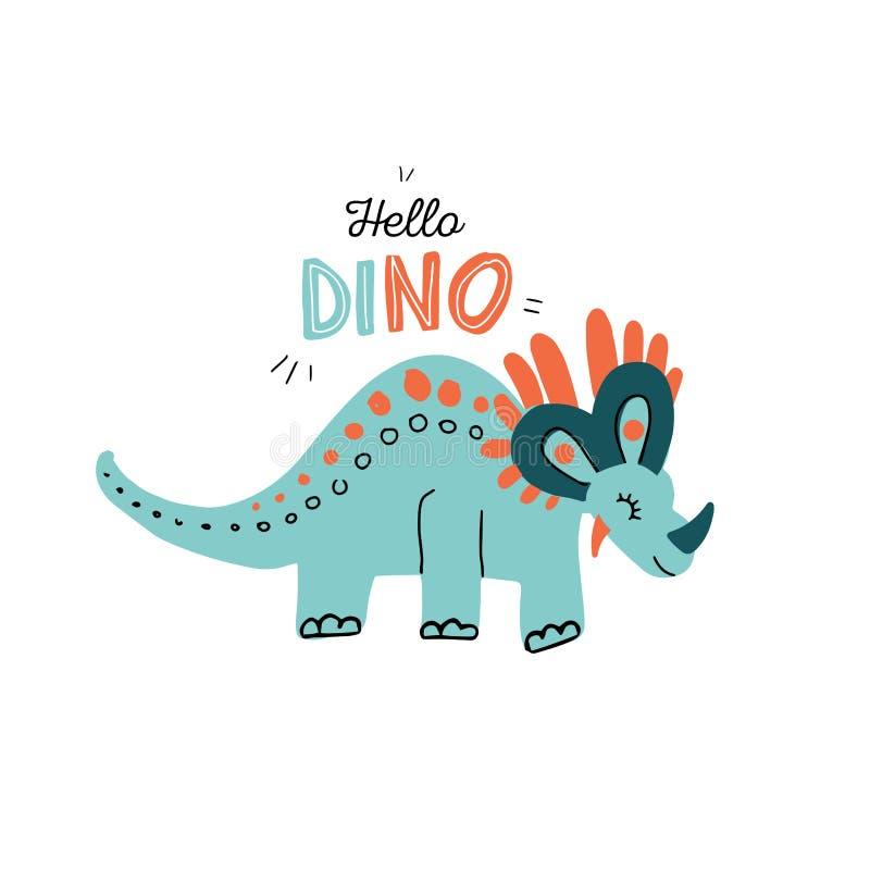 在与在行情你好迪诺上写字的白色背景隔绝的逗人喜爱的三角恐龙的手grawn简单的例证 滑稽的动画片 向量例证