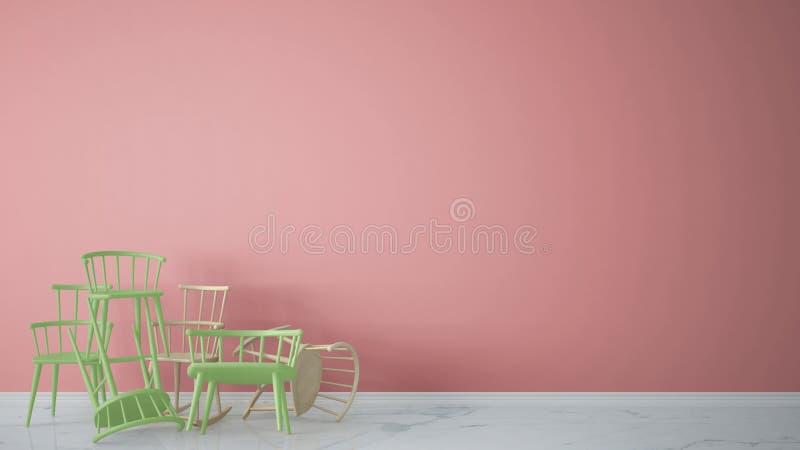 在与大理石地板,建筑师的当代空的内部堆积的小组绿色现代斯堪的纳维亚经典和岩石椅子 免版税库存照片