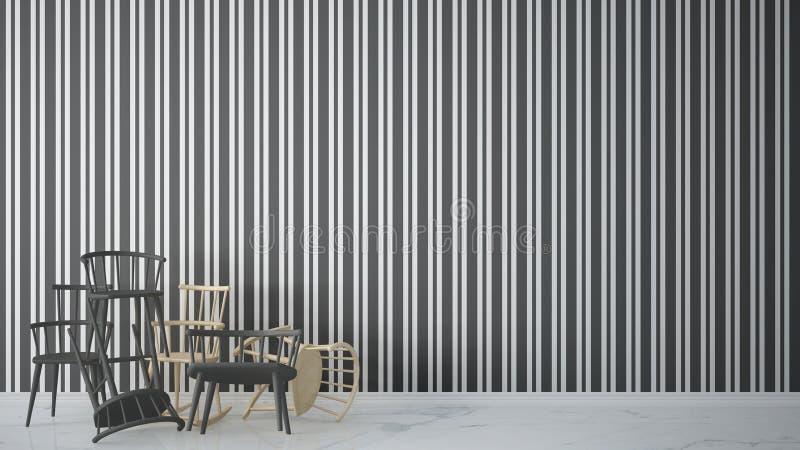 在与大理石地板,建筑师desig的当代空的内部堆积的小组现代斯堪的纳维亚经典和岩石椅子 库存例证