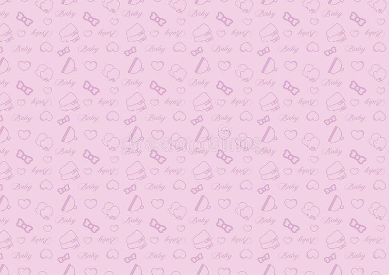 在与婴孩辅助部件题材充分地编辑可能的可重新调整的传染媒介的线型象的无缝的样式在软的紫色颜色 向量例证