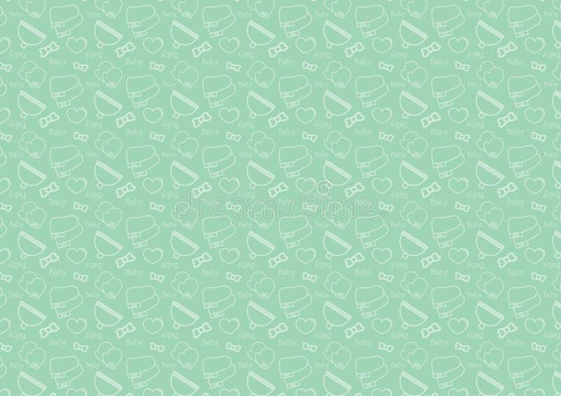 在与婴孩辅助部件题材充分地编辑可能的可重新调整的传染媒介的线型象的无缝的样式在软的绿色 皇族释放例证