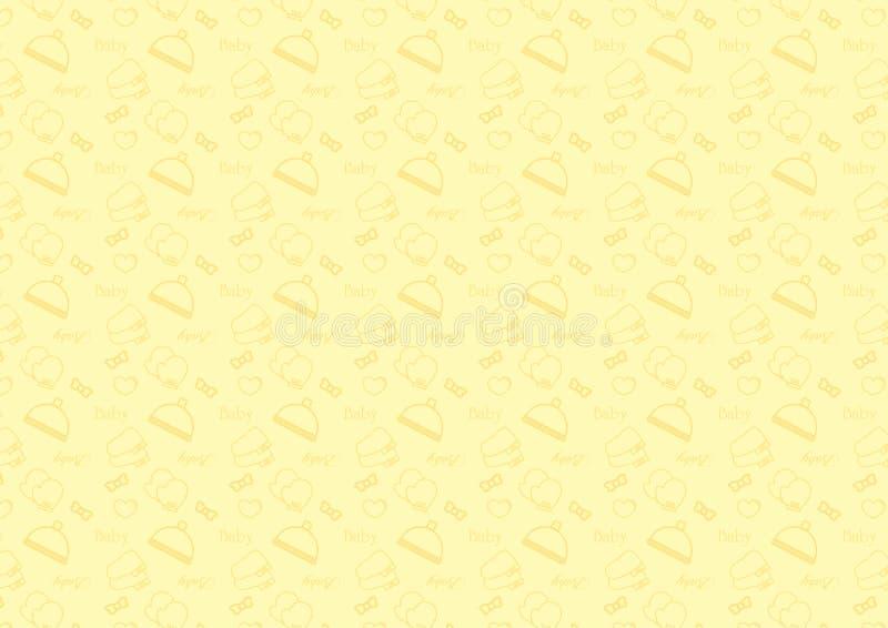 在与婴孩辅助部件题材充分地编辑可能的可重新调整的传染媒介的线型象的无缝的样式在软的黄色颜色 向量例证