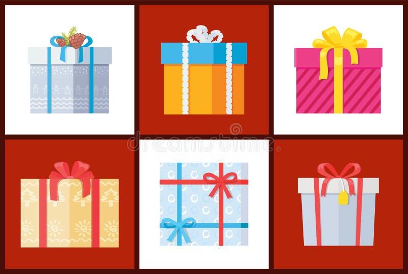 在与弓的纸包裹的礼物,被冠上的装饰 库存例证