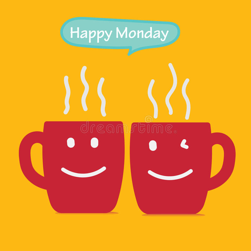 在与微笑面孔的黄色背景隔绝的愉快的星期一咖啡杯概念在杯子 10 eps