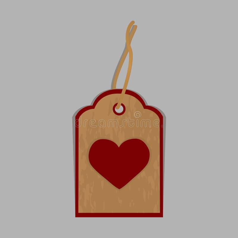 在与心脏的灰色背景隔绝的标签 向量例证