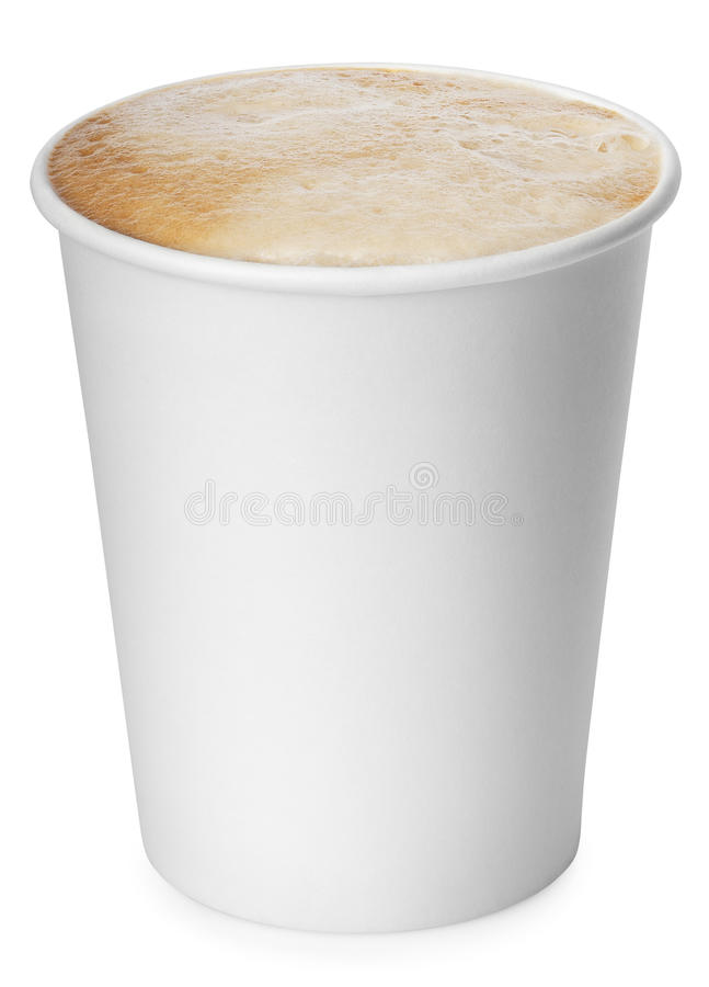 在与截去p的白色背景隔绝的纸咖啡 库存照片