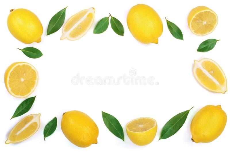 在与拷贝空间的白色背景隔绝的柠檬框架您的文本的 平的位置,顶视图 免版税库存照片