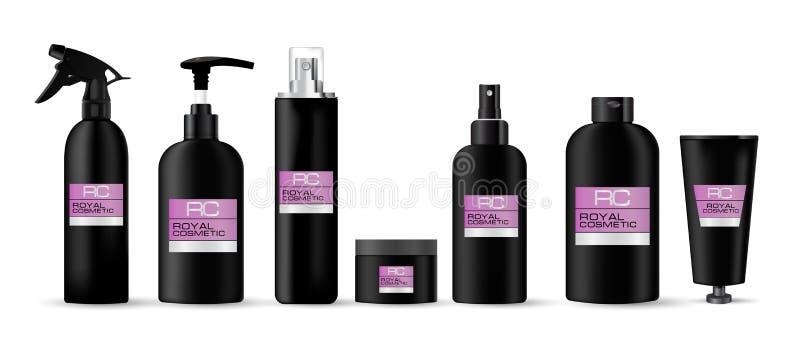 在与桃红色标签皇家化妆用品的黑颜色做的现实化妆容器大模型集合 皇族释放例证