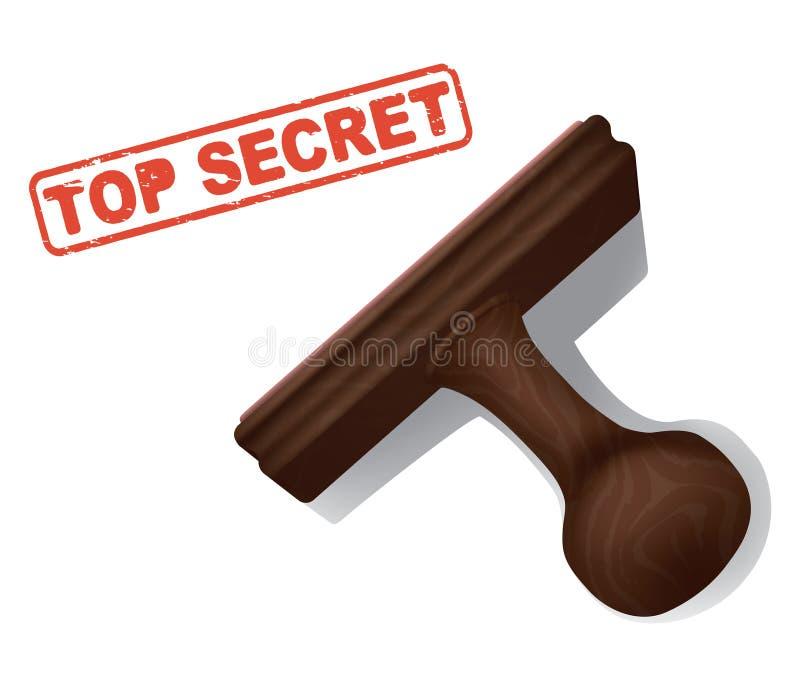 在与橡胶手邮票的红色墨水盖印的最高机密 库存例证