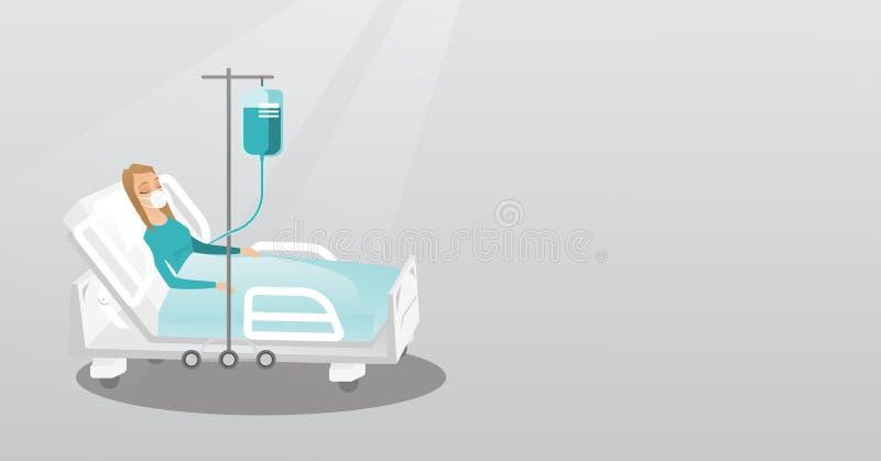 在与氧气面罩的医院病床上的患者 皇族释放例证