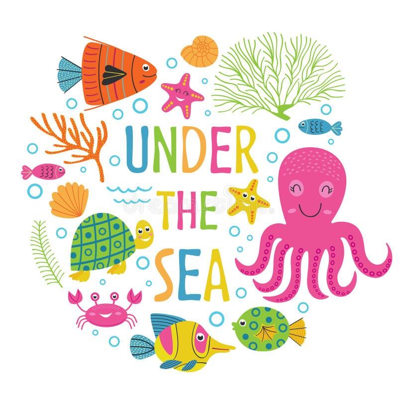 在与海生动物的海卡片下 库存例证