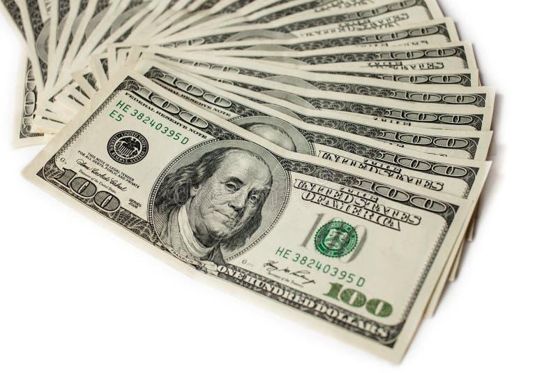 在与焦点的白色背景隔绝的一百元钞票爱好者在第一张票据 库存照片