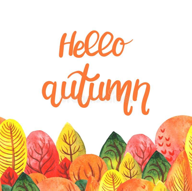 在与秋天森林的你好秋天的水彩例证上写字 向量例证