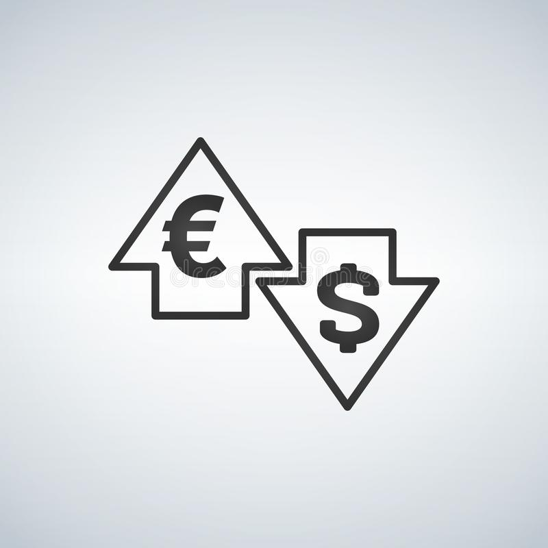 在与美元的箭头上下和欧洲签到在白色背景的平的象设计 库存例证