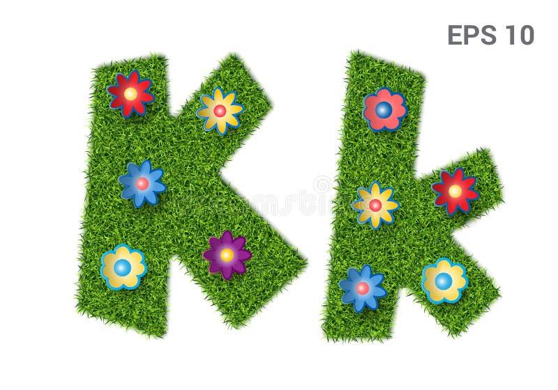 在与草和花纹理的Kk上写字  皇族释放例证