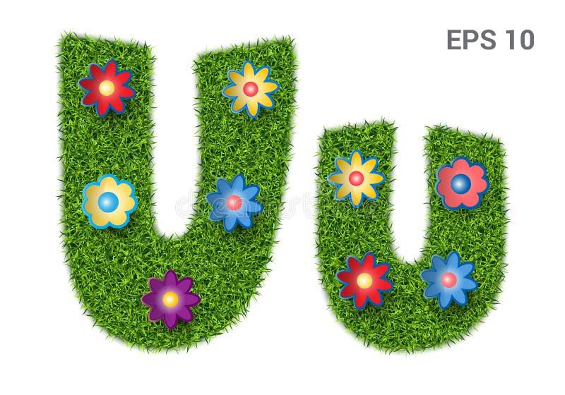 在与草和花纹理的Uu上写字  皇族释放例证