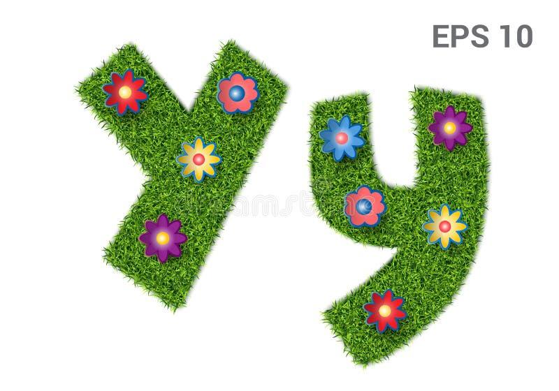 在与草和花纹理的Yy上写字  库存例证
