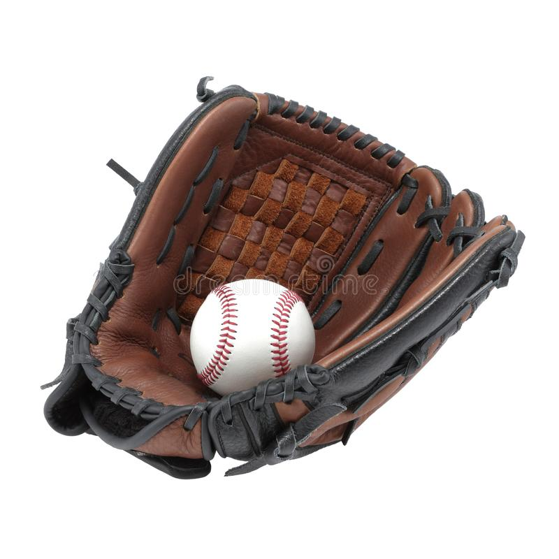 在与裁减路线的白色背景和球隔绝的棒球手套露指手套 库存图片