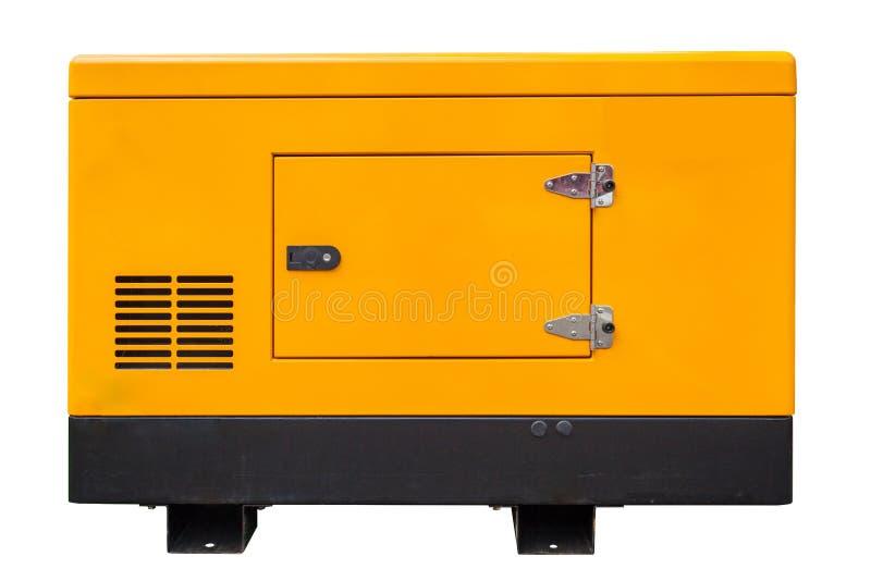 在与裁减路线的白色背景紧急作用和电力的流动柴油或汽油发电器隔绝的 图库摄影